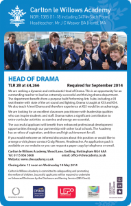 Carlton le Willows Academy - Head of Drama