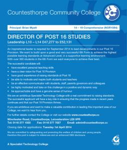 Countesthorpe Community College - Director of Post 16 Studies