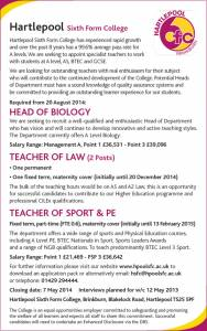 Hartlepool Sixth Form College - Various Teachers