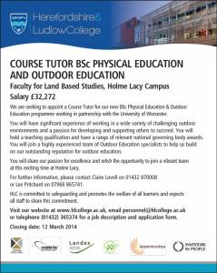 Herefordshire & Ludlow College - Course Tutor