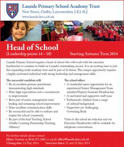 Launde Primary School Academy Trust - Head of School