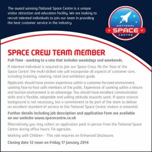 National Space Centre - Space Crew Team Member