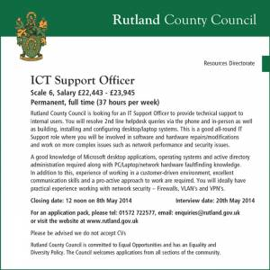 Rutland County Council - ICT Support Officer