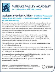 Wreak Valley Academy - Assistant Premises Officer